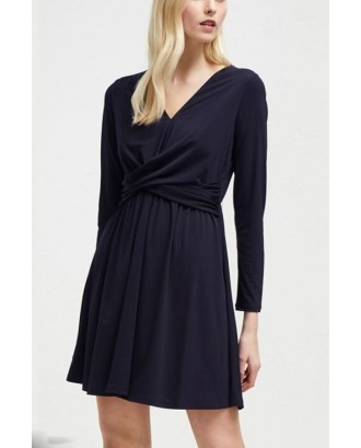 Black V Neck Long Sleeve Ruched Casual A Line Dress