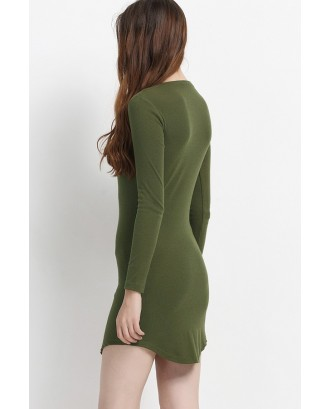 Army Green Side Slit Long Sleeve Bodycon Casual Dress
