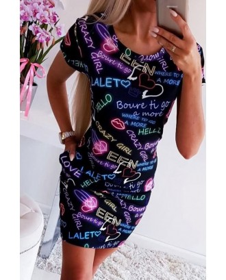 Black Letters Print Casual Bodycon T-shirt Dress