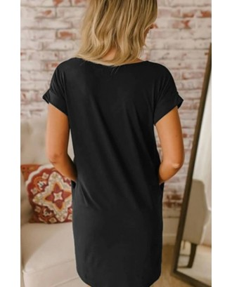 Black V Neck Pocket Casual T-shirt Dress