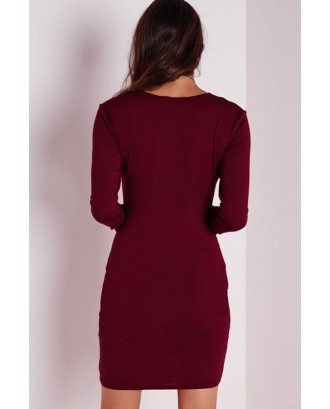 Dark Red Long Sleeve Bodycon Casual Dress