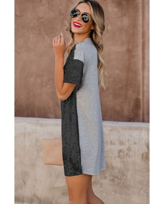 Black Glitter Sequin Splicing Short Sleeve Casual T-shirt Dress