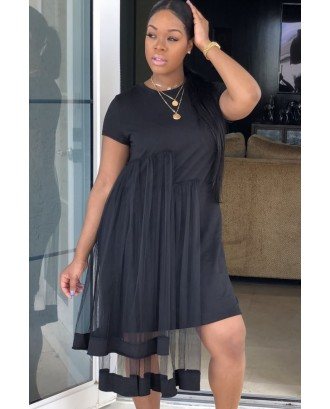 Black Mesh Overlay Short Sleeve Crew Neck Casual T-shirt Dress