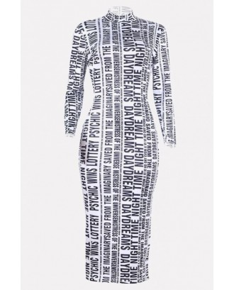 Black-white Letters Print Mock Neck Long Sleeve Bodycon Casual T-shirt Dress