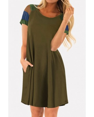 Color Block Round Neck Short Sleeve Casual T-shirt Dress