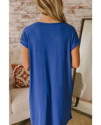 Blue V Neck Pocket Casual T-shirt Dress