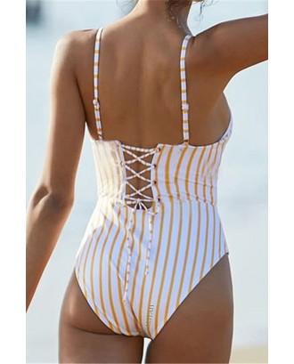 Orange Stripe Lace Up High Cut Sexy One Piece Swimsuit