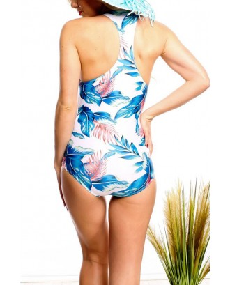 White Leaf Print Zipper Decor Sexy One Piece Swimsuit