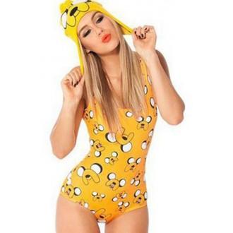Yellow Cartoon Dog Print Bodysuit One Piece Swimsuit