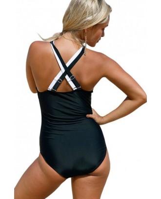 Black White Two Tone Wrap Strappy Crisscross Cutout Bandage Sexy One Piece Swimsuit