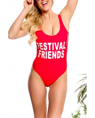 Red Letters Print Scoop Neck Sexy One Piece Swimsuit