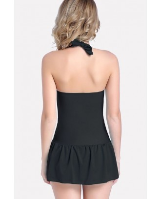 Black Ruched Halter Skirted Sexy Plus Size One Piece Swimsuit