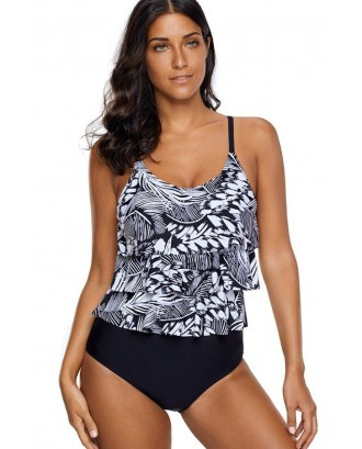 Black Graphic Print Layered Beautiful One Piece Swimsuit