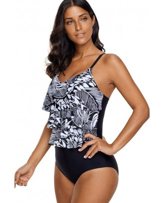 Black Graphic Print Layered Sexy One Piece Swimsuit