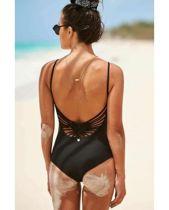 Solid Color Strappy Braided Cutout Sexy One Piece Swimsuit