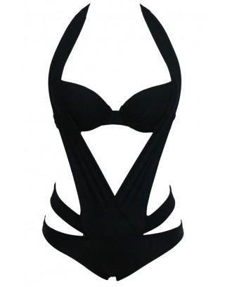 Black Halter Cutout Sexy Monokini Swimsuit
