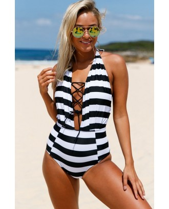 Black White Striped Halter Lace Up Sexy One Piece Swimsuit