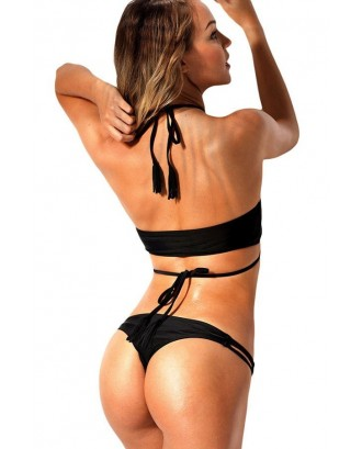 Black Halter Strappy Cheeky Thong Sexy Crop Top Bikini