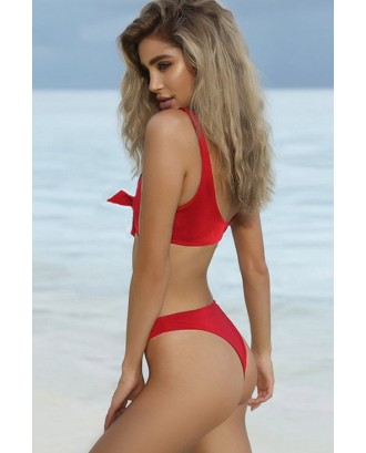 Red Tie Front High Waist Sexy Two Piece Bikini Swimsuit