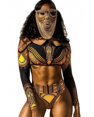 Black Cold Shoulder African Tribal Print High Cut Long Sleeve Sexy Cheeky Two Piece Swimsuit