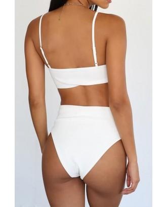 White Spaghetti Straps Knotted High Waist Sexy Brazilian Bikini