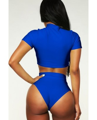 Blue Zipper Up Padded Crop Top High Waist Sexy Bikini