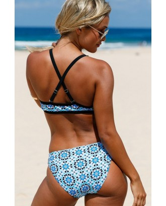 Blue Floral Print High Neck Beautiful Two Piece Swimsuit