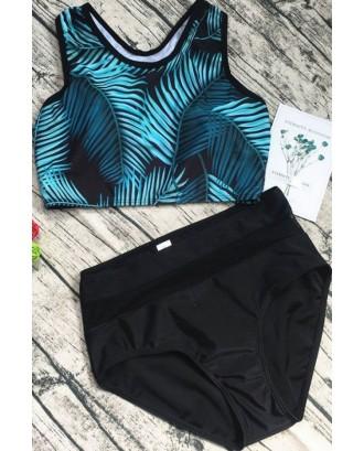 Black High Neck Tropical Palm Leaf Print Racer Back Cute Two Piece Crop Top Bikini Swimsuit