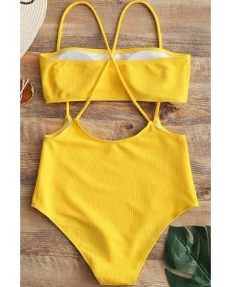 Yellow Bandeau Crisscross Sexy Bikini Swimsuit
