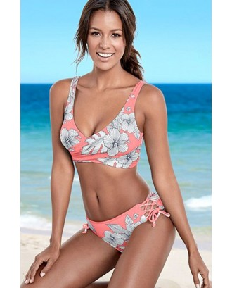 Pink Floral Print Lace Up Tied Sides Chic Bikini