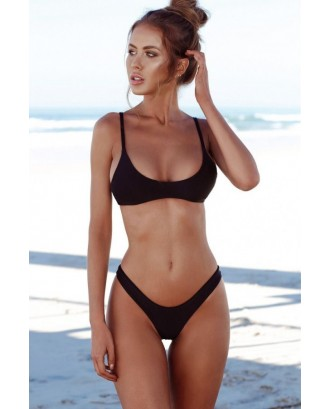 Scoop Neck High Cut Sexy Thong Two Piece Bikini Swimsuit