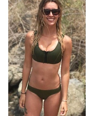Army-green Zipper U Neck Cheeky Sexy Crop Top Bikini