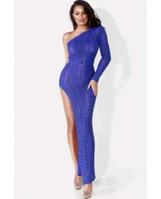 Blue One Shoulder Crochet High Slit Slit Beautiful Cover Up
