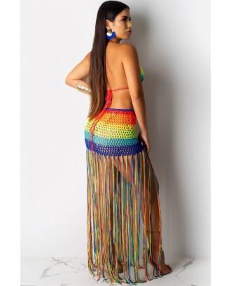 Multi Color Block Crochet Fringe Bra Skirt Sexy Cover Up