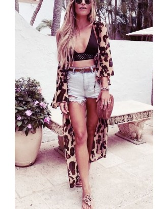 Leopard Long Sleeve Open Front Casual Chiffon Cover Up