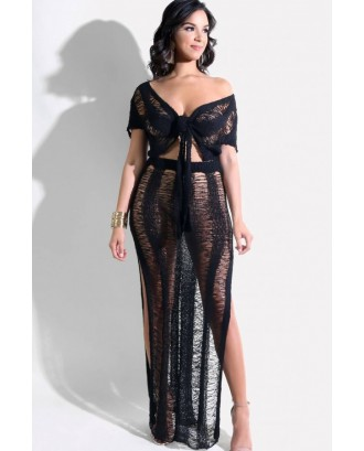 Black V Neck High Slit Tied Crop Top Skirt Sexy Cover Up