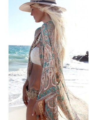 Green Tribal Print Casual Boho Cover Up Cardigan