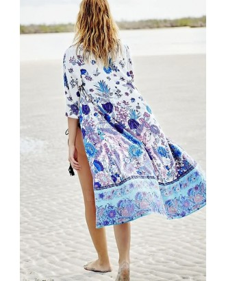 Blue Floral Print Open Front Half Sleeve Casual Boho Cover Up