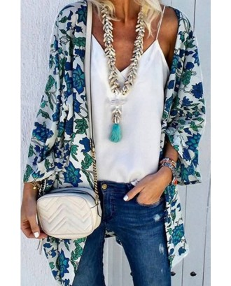 White Floral Print Bat Sleeve Open Front Casual Cover Up