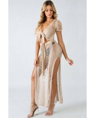 Camel V Neck High Slit Tied Crop Top Skirt Sexy Cover Up