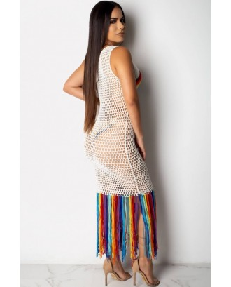 White Rainbow Hollow Out Fringe Casual Beach Dress Cover Up