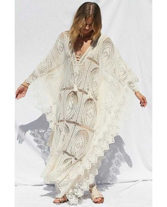 Beige Lace V Neck Beautiful Beach Maxi Dress Cover Up