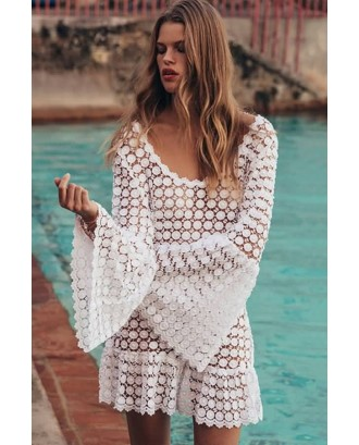 White Lace Flare Sleeve Backless Sexy Beach Dress Cover Up