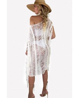White Crochet Fringe Sexy Cover Up