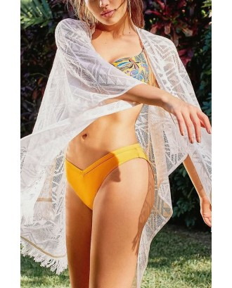 White Tassels Open Front Crochet Lace Swim Cover Up