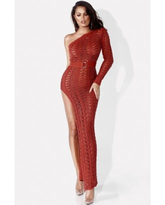 Red One Shoulder Crochet High Slit Slit Sexy Cover Up