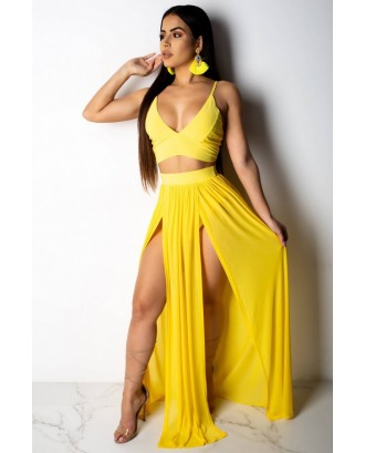 Yellow Spaghetti Straps Slit Crop Top Skirt Sexy Cover Up