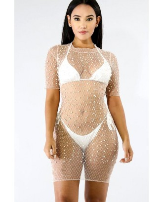 White Imitation Pearl See Through Sexy Cover Up Dress