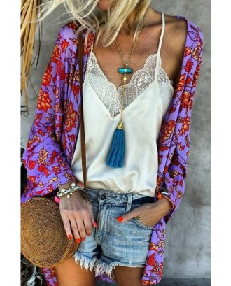 Floral Print Bat Sleeve Open Front Casual Cover Up