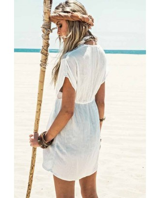 White Crochet Trim Tied Waist Cover Up